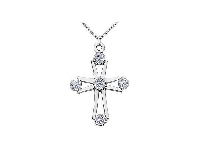14K White Gold Cross for Religious Necklace with Diamond Bezel Set 0.85 Carat TDW
