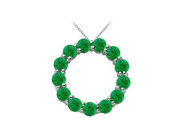 14K White Gold May Birthstone of Natural Emerald Circle Necklace with 2 Carat Total Gem Weight