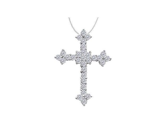 Diamond Cross in White Gold 14K Religious Necklace with 1.80 Carat Diamonds