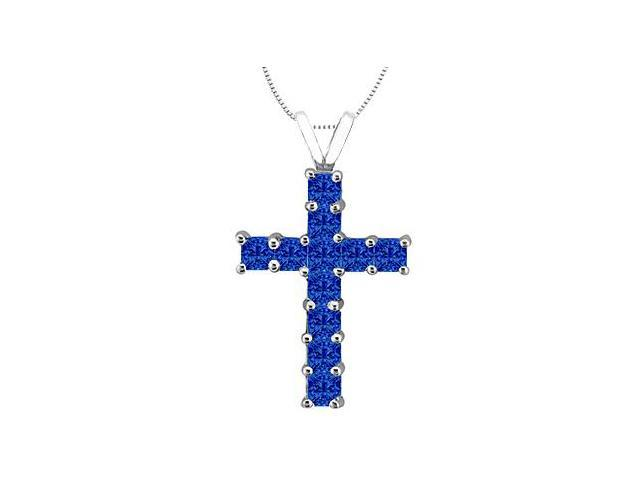Princess Cut Natural Blue Sapphire Cross Pendant in 14K White Gold 0.75 Carat Total Gem Weight