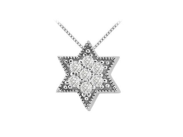 14K White Gold Jewish Star Pendant with Cubic Zirconia 0.35 Carat Total Gem Weight