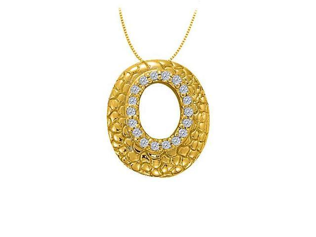 Cubic Zirconia Oval Fashion Pendant in Gold Vermeil over Sterling Silver 0.25 CT TGW