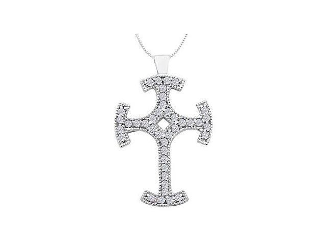 14K White Gold Cross Milgrain Diamond Pendant with 0.80 Carat Diamonds