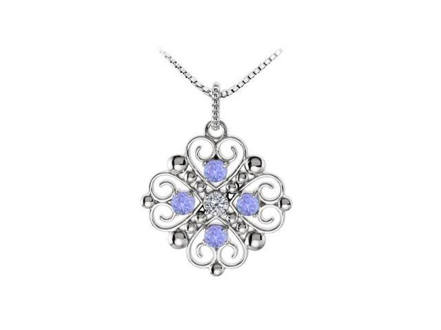 December Birthstone Created Tanzanite and CZ Heart Pendant in 14kt White Gold 0.50 CT TGW