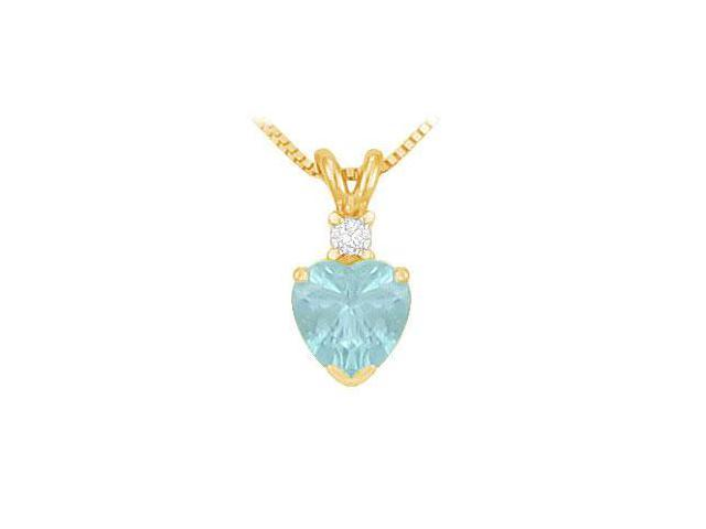 Diamond and Aquamarine Solitaire Pendant  14K Yellow Gold - 1.00 CT TGW