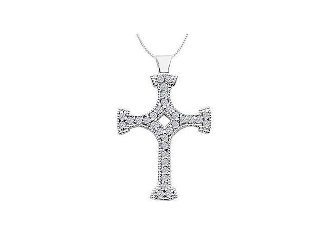 Cross Necklace in 14K White Gold Milgrain diamonds of 0.65 Carat Total Diamond Weight