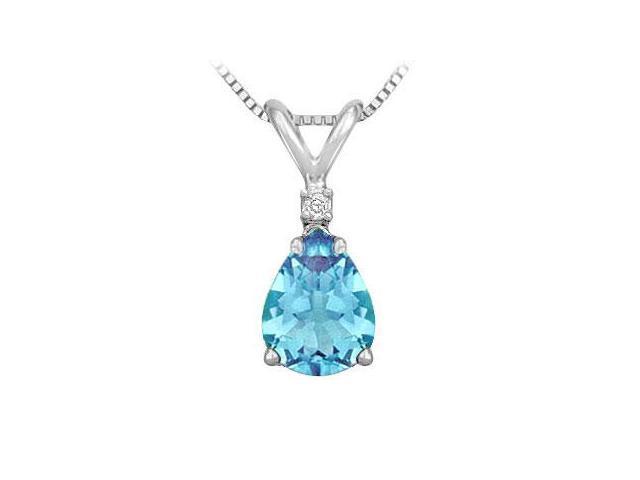 Diamond and Blue Topaz Solitaire Pendant  14K White Gold - 1.00 CT TGW
