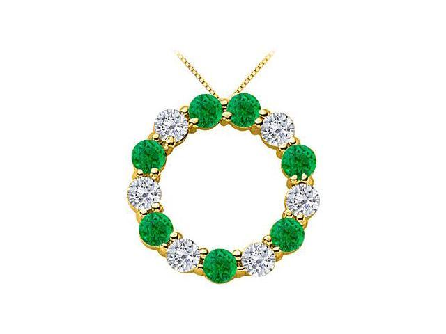 Green Natural Emerald and Diamond Circle Necklace in 14K Yellow Gold 2 Carat Total Gem Weight