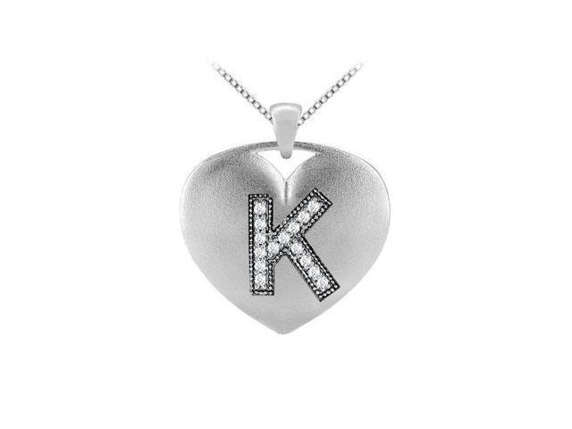 Heart initial K diamond pendant in 14k white gold 0.15 carat diamonds