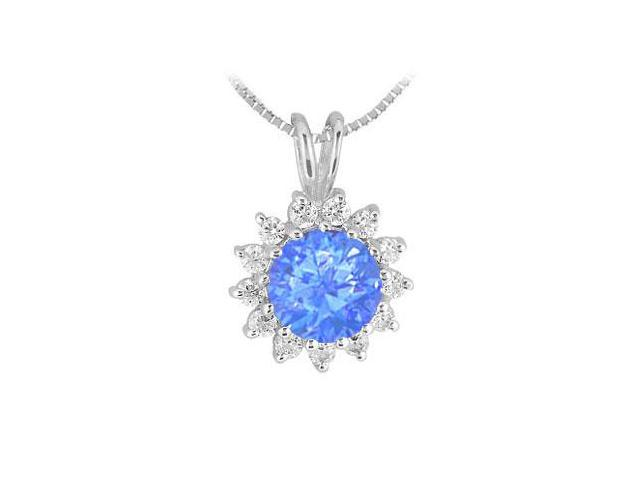 1 Carat Diffuse Sapphire Pendant with Cubic Zirconia in Rhodium Treated 925 Sterling Silver 1.25