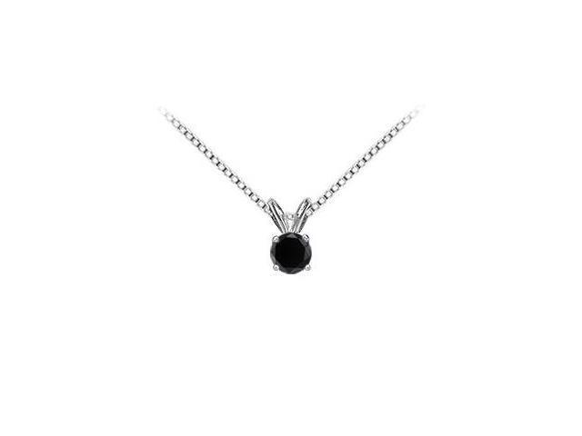 14K White Gold  Round Black Diamond Solitaire Pendant - 1.00 CT. TW.