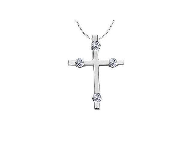 4 Diamond Cross Pendant of 0.15 Carat Diamonds Set in 14K White Gold Religious Necklace