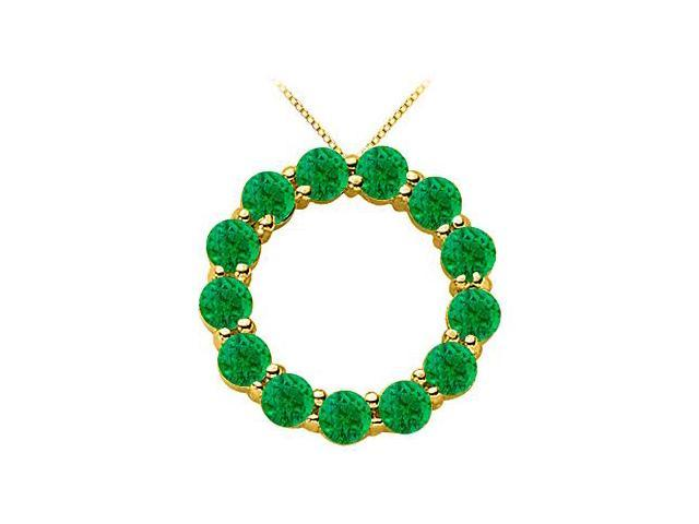 14K Yellow Gold May Birthstone of Natural Emerald Circle Necklace with 2 Carat Total Gem Weight