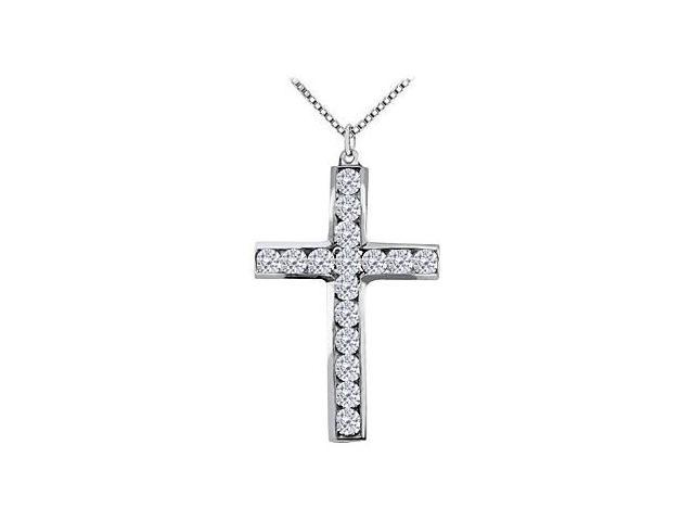 Half Carat Diamond Cross of Religious Necklace in 14K White Gold