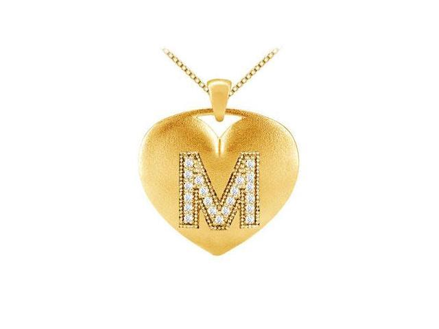 Diamond Alphabet M Heart Pendants in 14K Yellow Gold 0.21 carat Diamonds