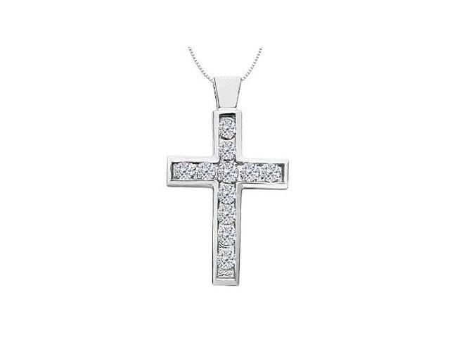 Religious Cross Necklace in 14K White Gold Accented Diamond of 1.75 Carat Total Diamond Weight