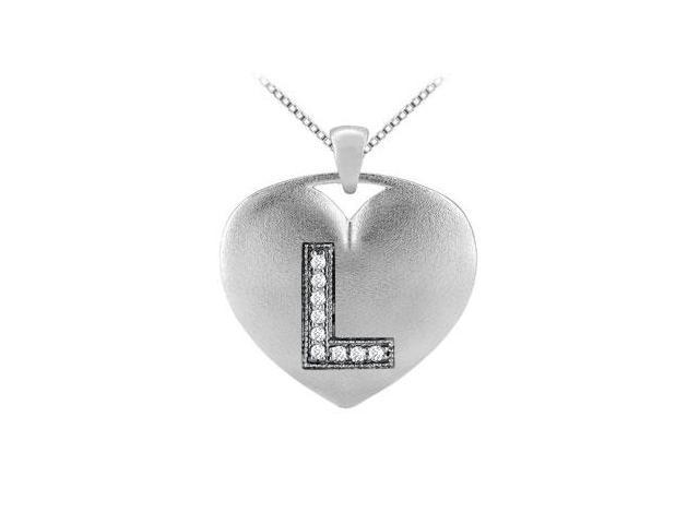 Heart Design Diamond Initial L Pendant with 0.09 Carat Diamonds in 14k White Gold