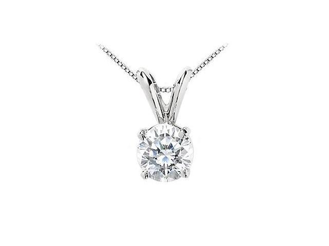 1 Carat Cubic Zirconia Solitaire Pendant in 14K White Gold Round Prong Set AAA Quality