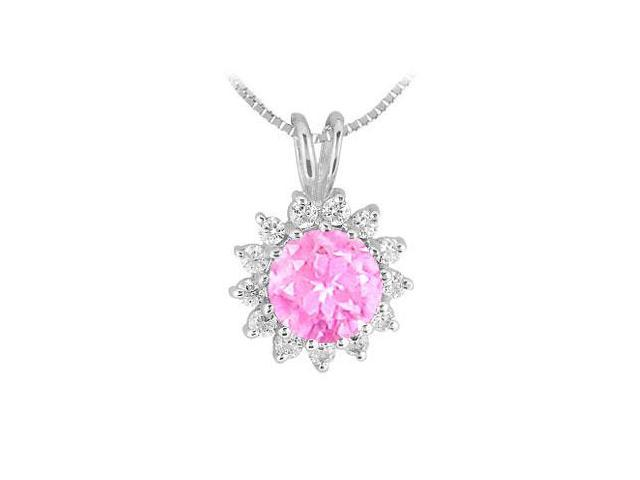 Pink Sapphire and Cubic Zirconia Pendant in Rhodium Treated .925 Sterling Silver 1.25 Carat TGW