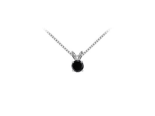 14K White Gold  Round Black Diamond Solitaire Pendant - 1.25 CT. TW.