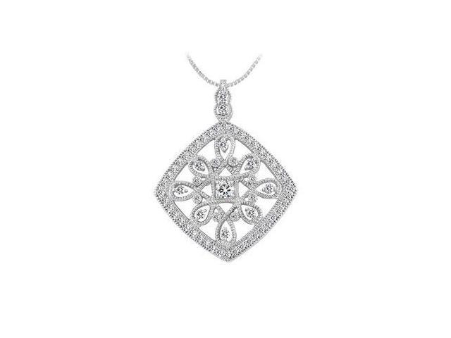 Diamond Floral Pendant  14K White Gold - 1.00 CT Diamonds