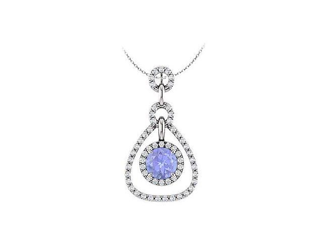 December Birthstone Created Tanzanite and CZ Tear Drop Halo Pendant 14K White Gold 1.50 CT TGW