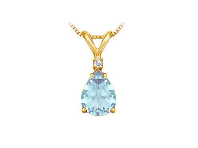 Diamond and Aquamarine Solitaire Pendant  14K Yellow Gold - 1.00 CT TGW