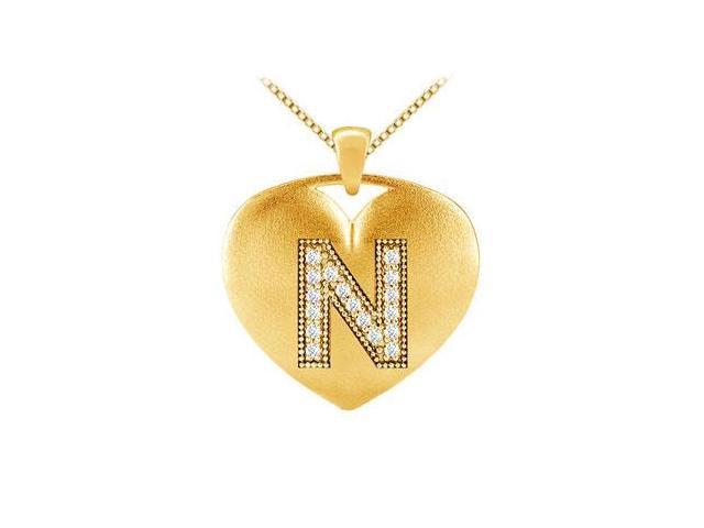 Diamond Heart Initial N Pendant with 0.17 Carat Diamonds in Yellow Gold 14K