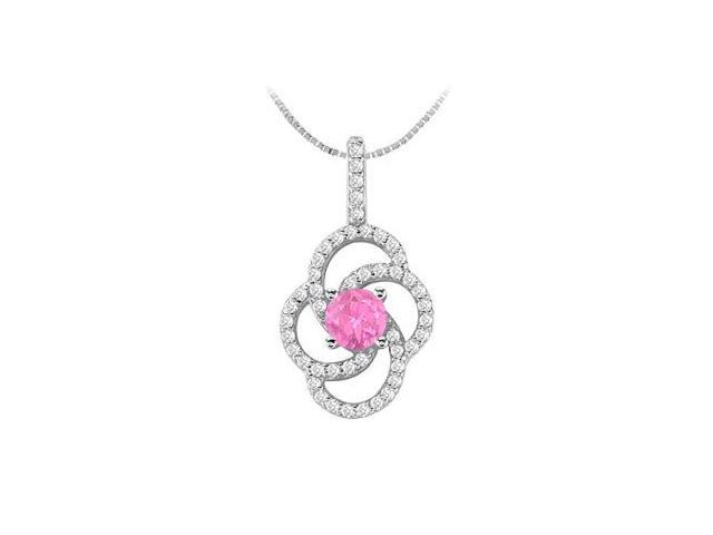 Pink Sapphire with Brilliant Cut Diamond Flower Pendant in 14K White Gold 1.00 Carat