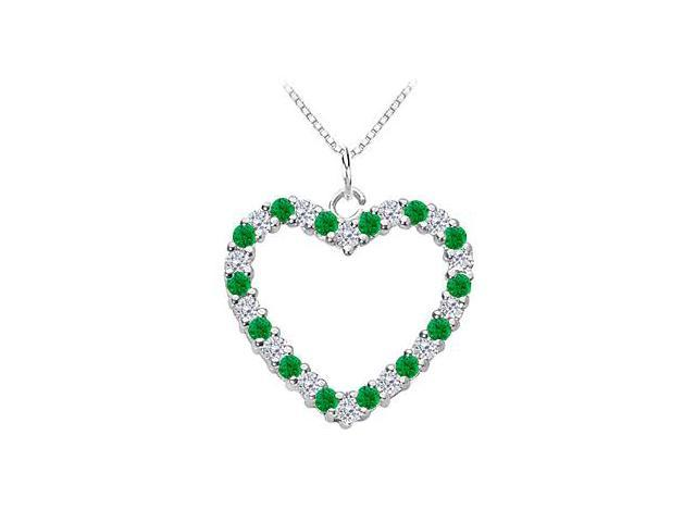 Green Emerald and Diamond Heart Pendant in White Gold 14K Total Gem Weight of 0.75 Carat
