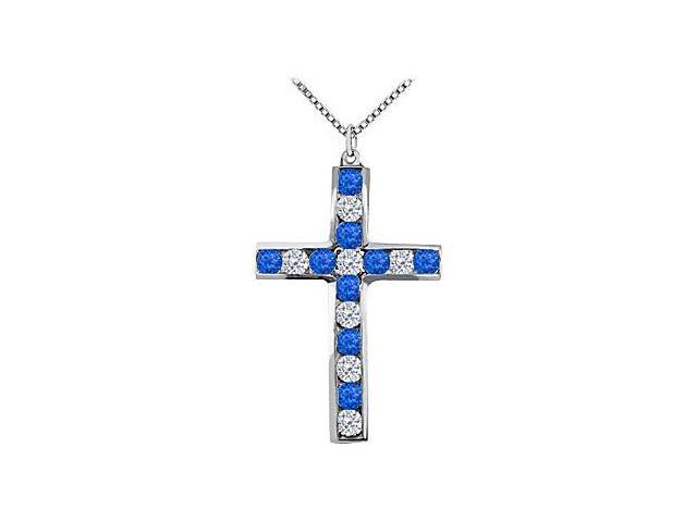 Diamond and Blue Sapphire Cross Pendant in 14K White Gold 0.50 Carat Total Gem Weight