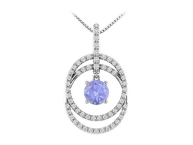 December Birthstone Tanzanite and CZ Double Row Circle Pendant 14K White Gold 1.75 CT TGW