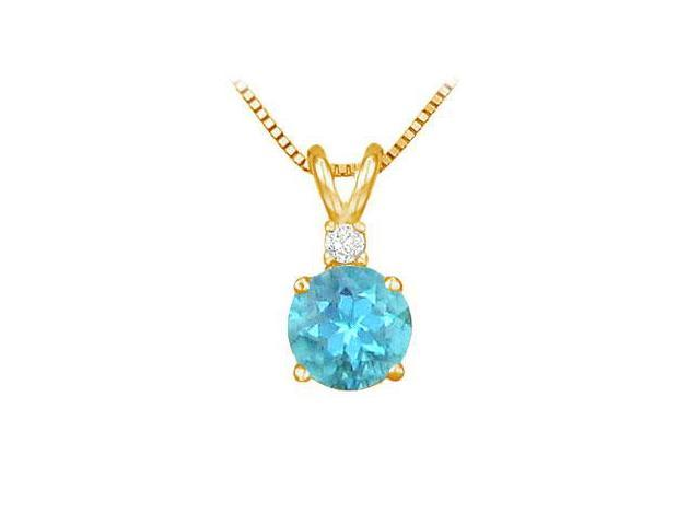 Diamond and Blue Topaz Solitaire Pendant  14K Yellow Gold - 1.00 CT TGW