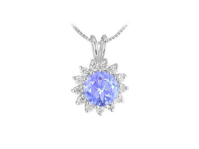.925 Sterlng Silver Rhodium Treated Pendant with Tanzanite and Cubic Zirconia 1.25 Carat TGW