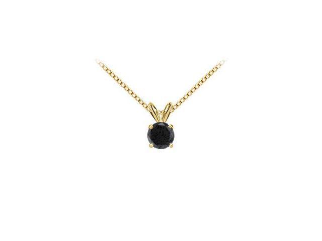 14K Yellow Gold  Round Black Diamond Solitaire Pendant - 1.50 CT. TW.
