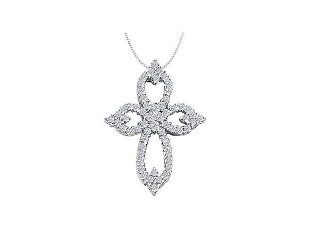 Diamond Cross Necklace in 14K White Gold Clover Leaf Design with 1.05 Carat Diamonds