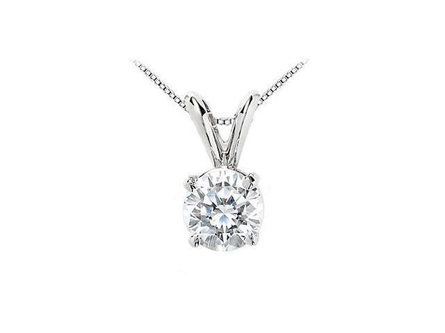 2 Carat Cubic Zirconia Solitaire Pendant Round Cut in 14K White Gold Triple AAA Quality
