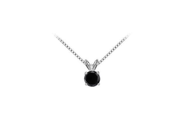 14K White Gold  Round Black Diamond Solitaire Pendant - 1.75 CT. TW.