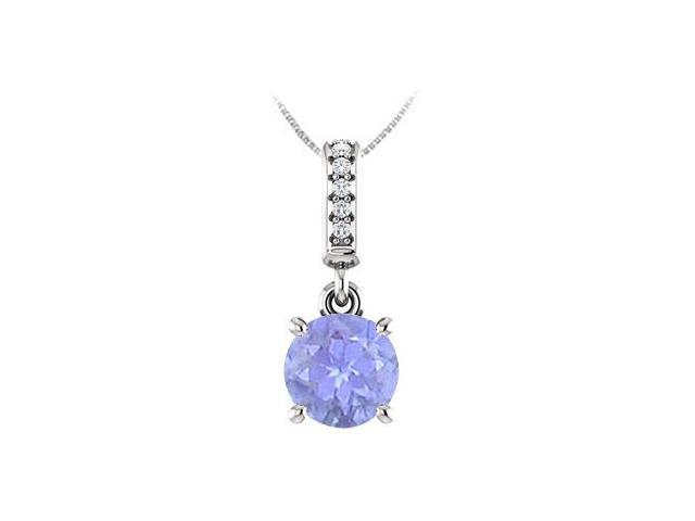 December Birthstone Created Tanzanite Pendant with CZ in 14kt White Gold 1.05 CT TGW