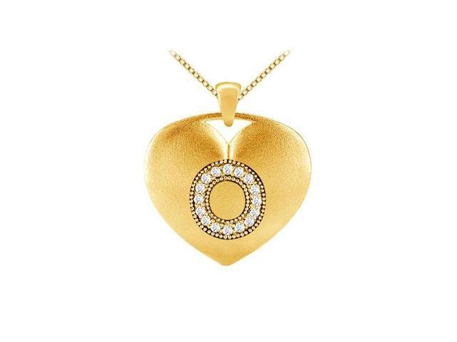 Initial O Heart Diamond Pendant in Yellow Gold 14K with 0.16 ct Diamonds