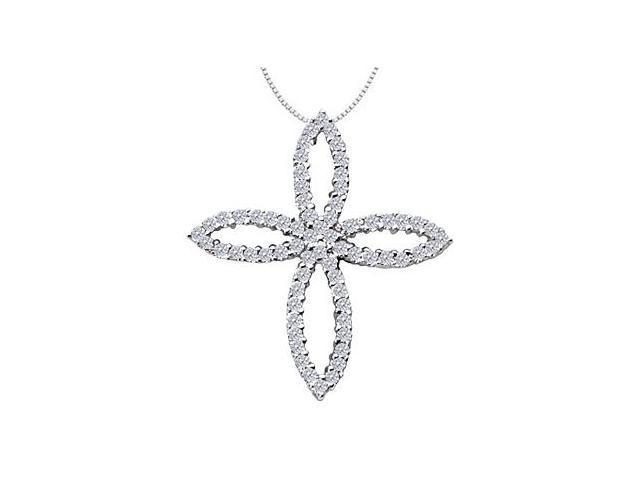 1 Carat Diamond Set in 14K White Gold Clover Leaf Design Cross Pendant Necklace