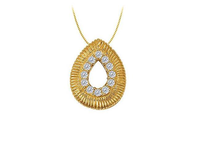 Cubic Zirconia Tear Drop Fashion Pendant in Gold Vermeil over Sterling Silver 0.10 CT TGW