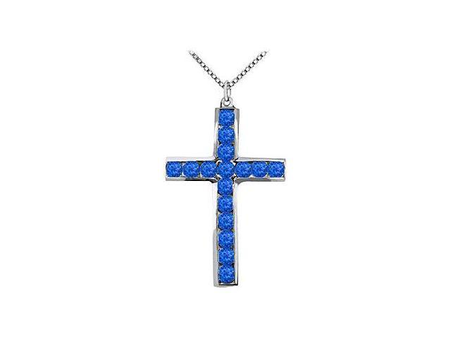 14K White Gold Religious Cross with Natural Blue Sapphire Pendant of 0.50 Carat Total Gem Weight