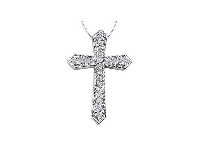 Religious Cross Pendant in 14K White Gold Milgrain Diamonds Accented of 0.55 Carat