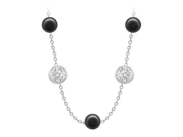 Black Onyx By The Yard Necklace with Cubic Zirconia 150 ct in White Gold 14K Cable Chain 16 Inch