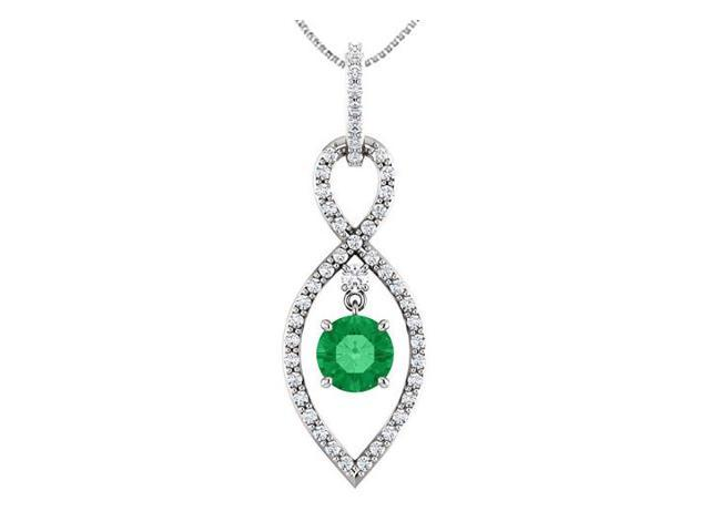 Diamond Infinity Pendant in 14K White Gold with Green Emerald of One and a Half Carat TGW