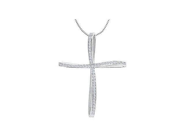 14K White Gold Religious Swirl Cross Diamond Pendant with 0.25 Carat Diamonds