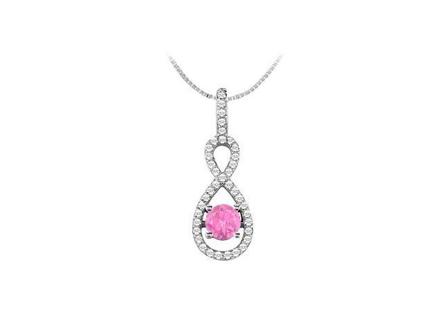 Diamond and Pink Sapphire Pendant in 14K White Gold 1.00 Carat TGW