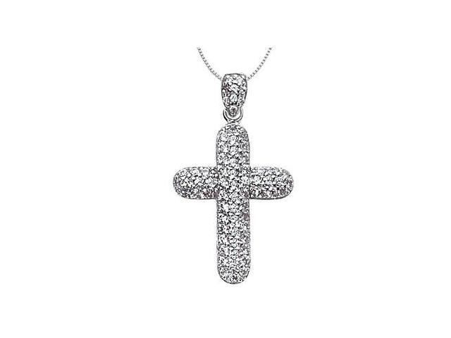 1 Carat Diamond Cross of Religious Necklace in 14K White Gold