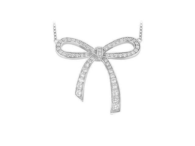 Cubic Zirconia Bow Pendant in Rhodium Treated .925 Sterling Silver with 0.33 Carat TGW